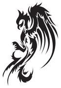 Tattoo design of phoenix, vintage engraving. Piirros