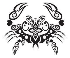 Crab tattoo design, vintage engraving. Stock Illustration