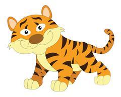 Cute orange and brown tiger, illustration Piirros