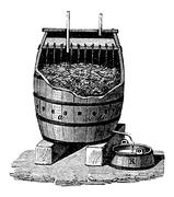 Rapid Acetification of Vinegar in a Schuzenbach Barrel, vintage engraving Stock Illustration