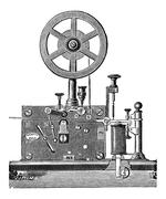 Printing Electrical Telegraph Receiver, vintage engraving Stock Illustration