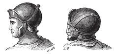Legionary helmets vintage engraving Stock Illustration