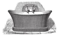 Copper bathtub vintage engraving Stock Illustration