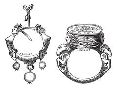 The earring and the ring of the sixteenth century vintage engraving Stock Illustration