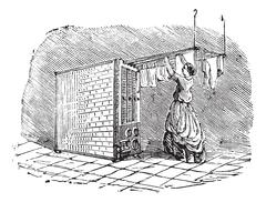 Movable clothes dryer vintage engraving Piirros