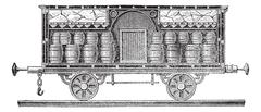 Iced beer barrels on wagon vintage engraving Stock Illustration