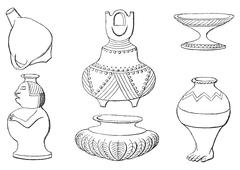 Indian antiquities, Objects in the ground, vintage engraving. Stock Illustration
