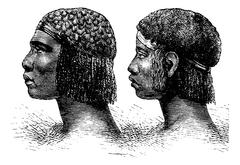 Huambo Man and Woman of Angola in Southern Africa, vintage engraving Stock Illustration