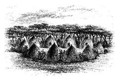 Camp Located Between Chambi and Bie of Angola in Southern Africa, engraving b Stock Illustration
