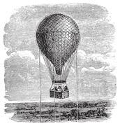 Old aerostat or hot air balloon vintage illustration. Stock Illustration