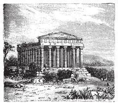 Temple of Concord, Templum Concordiae, in Agrigente, Rome, Italy. Stock Illustration