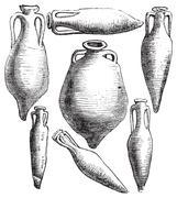 Greek and Roman amphora vases vintage engraving. Piirros
