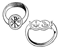 Two christian episcopal rings with symbols vintage engraving Piirros