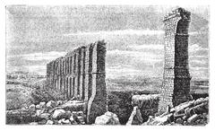 Carthage roman aqueduct ruins old engraving. Stock Illustration