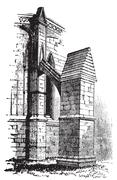 Buttress arch of Lincoln Cathedral chapter, England. Old engraving. Stock Illustration