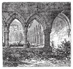 Gothic cloisters and arch at Kilconnel Abbey, in County Galway, Ireland. Old Stock Illustration