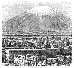 Arequipa and the Misti volcano old engraving, in 1890. Stock Illustration
