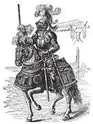 Ironclad full bodied armored horse and rider. Old engraving Stock Illustration
