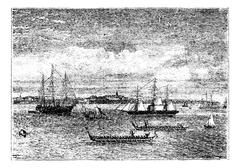 Auckland harbor in the 1890s vintage engraving, New Zealand Stock Illustration