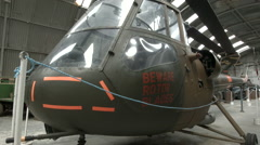 British Military scout helicopter 1950's. Crane shot Stock Footage