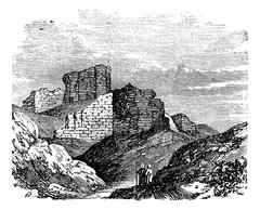 Ruins of the Main Palace in Babylonia vintage engraving. Stock Illustration