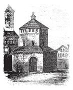 Baptistry of Novara vintage engraving Stock Illustration