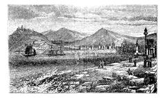 Barcelona, in Spain, during the 1890s, vintage engraving Stock Illustration