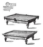 Billiard table and Carom billiards, tables, vintage engraving. Stock Illustration