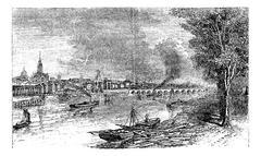 Bordeaux port city, Garonne River, France, vintage engraving. Stock Illustration