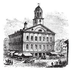Faneuil Hall or The Cradle of Liberty, Boston, Massachusetts, USA vintage eng Stock Illustration