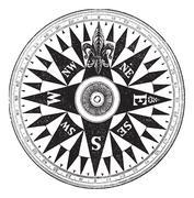 British Navy Compass, vintage engraving. Stock Illustration