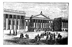 British Museum in London, United Kingdom (England), vintage engraving from 18 Stock Illustration
