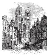The Church Saint-Gudula of Brussels, Belgium. Vintage engraving. Stock Illustration