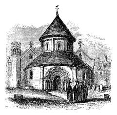 Church of the Holy Sepulchre, Cambridge, United Kingdom, vintage engraving. Stock Illustration