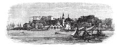 Old port of Chania, Crete, Greece vintage engraving from the 1890s Stock Illustration