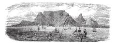 Scenic view from Table bay vintage, Cape Town, South Africa vintage engraving Stock Illustration