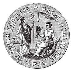 Great seal or hallmark of North Carolina vintage engraving Piirros