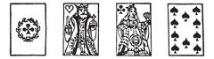 Playing cards or playcards  vintage engraving Stock Illustration