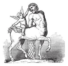 Chiron Centaur and Cupid statue or Furietti Centaurs and cupid vintage engrav Stock Illustration