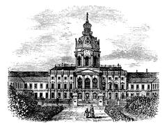 Charlottenburg Royal Palace, in Berlin, Germany, during the 1890s, vintage en Stock Illustration