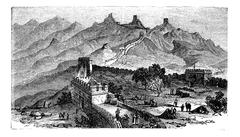 Great Wall of China, during the 1890s, vintage engraving Piirros