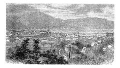 Como, in Lombardy, Italy, vintage engraving Stock Illustration