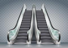 Escalator with clear glass Stock Illustration