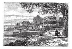 Cowes Harbor in the Isle of Wight, England, United Kingdom, vintage engraving Stock Illustration