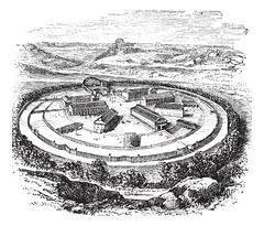 Dartmoor Prison in England, United Kingdom, vintage engraving Stock Illustration