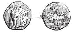 Antoninianus or Roman Coin, vintage engraving Stock Illustration