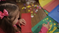 Girl skin application. preschool development of creativity Stock Footage
