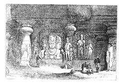 Elephanta Cave in Maharashtra, India, vintage engraving Stock Illustration