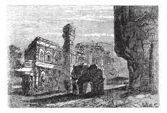 Kailash Temple in Ellora, Maharashtra, India, vintage engraving Stock Illustration