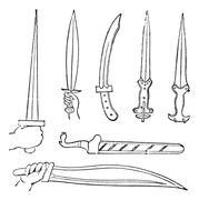 Greek Swords, vintage engraved illustration Stock Illustration